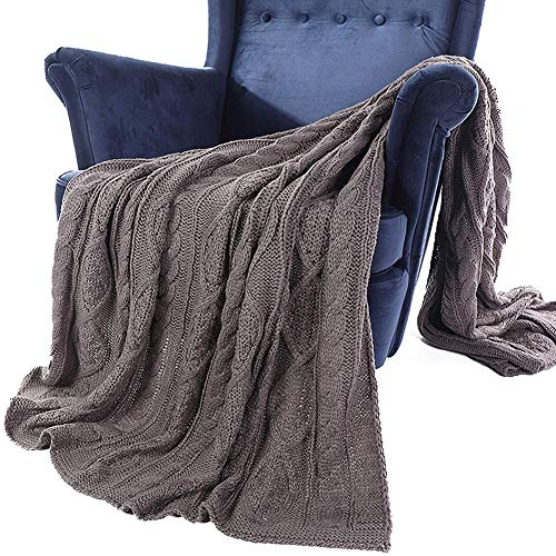 LEILEI Gray Knitted Cotton Blanket Warm and Cozy Hand Knitted Cotton Blanket 100% Cotton Diamond Pattern Diamond Pattern Sofa and Bedspread 130X200CM