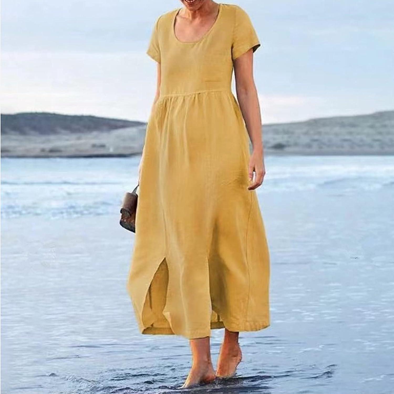 Zainafacai Womens Summer Dresses Cotton Linen Dress Baggy Bohemian Long Dresses Solid Short Sleeve Sundress Slit Maxi Dress