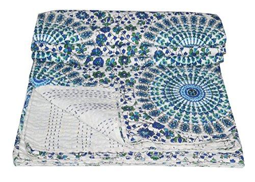 Ramdev Handicraft Colcha Tradicional Hecha a Mano y Hecha a Mano, Parche de Trabajo Sanganeri, diseño de Mandala Impreso y Hojas de jaal, 100% algodón, Doble Costura a Mano, tamaño 90 x 108 Pulgadas