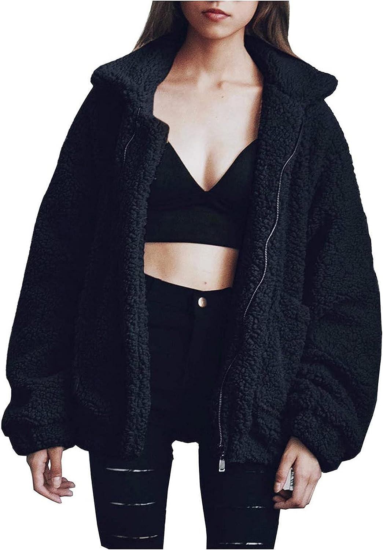GERsome Ladies Warm Faux Furry Coat for Women's Winter Oversized Turn Down Collar Jacket Fashion Zipper Pockets Outerwear Black