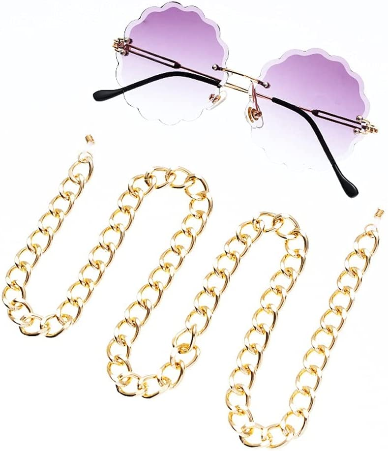 NJBYX Glasses Chain Holder For Women Exaggerated Thick Hip Hop Strap Sunglasses Cords Casual Accessories (Color : A, Size : Length-70CM)