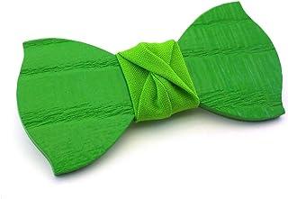 GIGETTO Papillon in legno fatto a mano con nodo in tessuto verde. Farfallino accessori moda matrimonio cerimonia. Cinturin...
