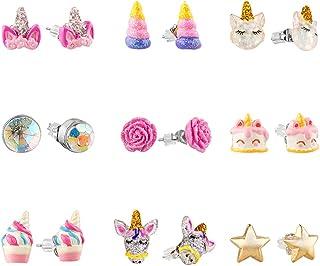 SkyWiseWin Hypoallergenic Earrings Set for Little Girls, Children`s Colorful Cute Earrings for Kids