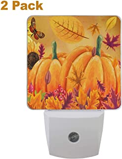 Vdsrup Fall Sunflowers Pumpkins Night Light Set of 2 Autumn Butterfly Maple Leaf Plug-in LED Nightlights Auto Dusk-to-Dawn Sensor Lamp for Bedroom Bathroom Kitchen Hallway Stairs