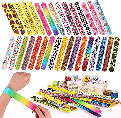 100 PCS Slap Bracelets Party Favors with Colorful Hearts Animal Print Design Retro Slap Bands for Kids Adults Birthday Classroom Gifts (100PCS)