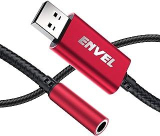 ENVEL Headset Adapter 3,5 mm Buchse auf USB Stecker, integrierter Chip externe Stereo Soundkarte, TRRS 4 poliges Mikrofon unterstützt USB auf Kopfhörer Adapter für PS4, Laptop, PC und mehr (rot)