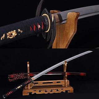 GUREN Handmade Full Tang Japanese Samurai Bat Katana Sword Japan Kendo Knife Sharp Blade 1060 High Carbon Steel Katanas Can Cut Trees
