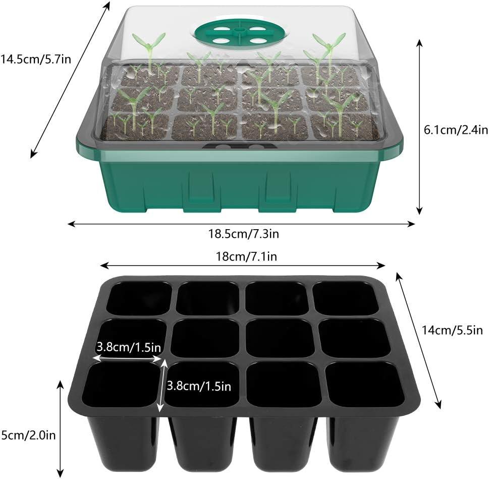 Bac /à Semis Transparente en Plastique et Tapis Bac de semis avec Couvercle Ajustable et Outils de Plantation et Tapis Bac et Plateau semis Culture pour d/émarrage semence 3pcs, Noir