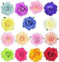 baotongle 15 Stücke Rosen Blumen Haarnadel Haarblume Clip Blumen Haarspangen Blumen Pin Up Blumen Brosche für Tropische Party,Strand,Hochzeit Party