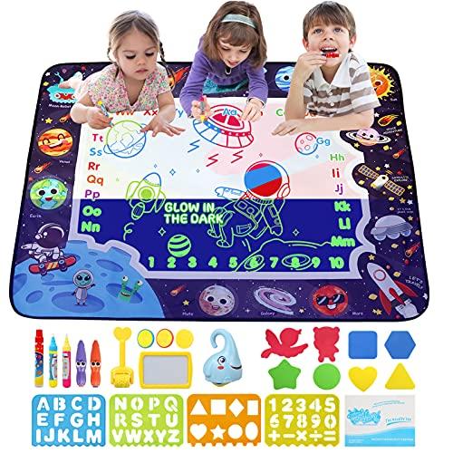 JoyLife Agua Dibujo Pintura, Luminosa Alfombra Mágicas para Niños, Estera de Dibujo de Agua Brillar en Oscuridad, Alfombra de Agua Doodle con Bolígrafos Mágicos Juguetes Regalos para niños - 100x80cm