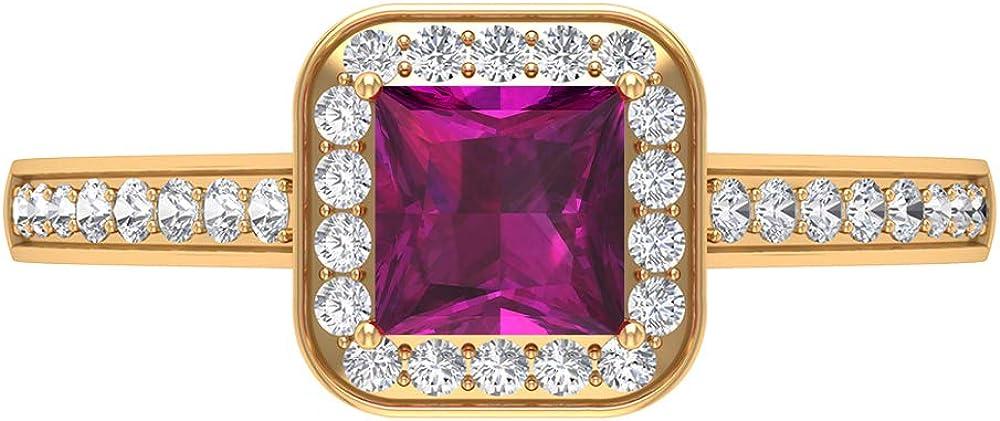 1/2 CT Solitaire Rhodolite Ring, 1/4 CT HI-SI Diamond Halo Ring, Gold Engagement Ring (5 MM Princess Cut Rhodolite), 14K Gold