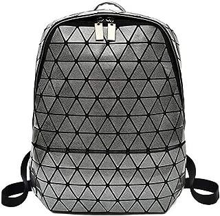 Asdfnfa Backpack Geometric Rhombic Bag Soft Face Handbag (Color : Gray)