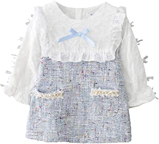 Xifamniy Infant Girls Autumn Skirt Lace Fixed Bow Stitching Design Babies A-Line Dress