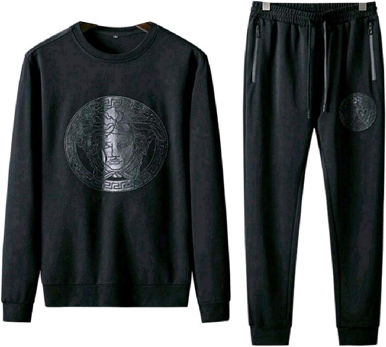 Zimase Mens Leisure Thin Embroidery Plus Size Sweatshirt Pants Set