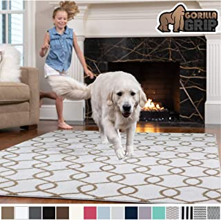 Gorilla Grip Original Faux-Chinchilla Area Rug, 4x6 Feet, Super Soft and Cozy High Pile Washable, Modern Rugs, Luxury Shag Carpets for Home, Nursery, Bed and Living Room, White and Beige