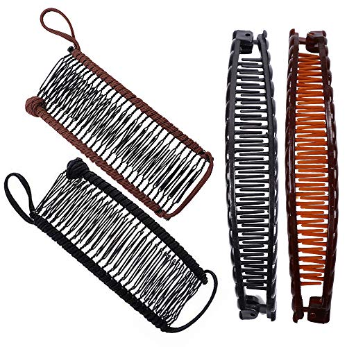4pcs Banana Hair Clips Classic Clincher Combs Large Vintage Banana Clips Comb Tool for Thick Hair 30 Combs Elastic Stretch Double Combs Clip Claws Set Afro Hair Magic Ponytail Holder for Women