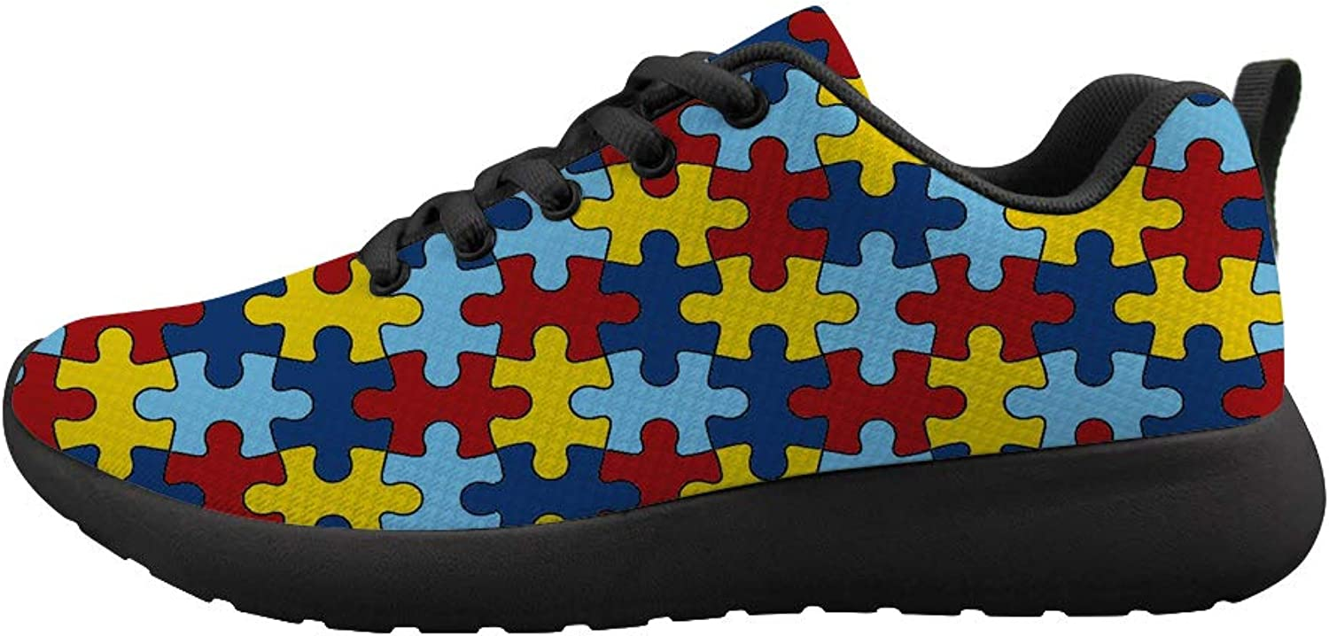 Cushioning Sneaker Trail Running shoes Mens Womens Autism Awareness Puzzle