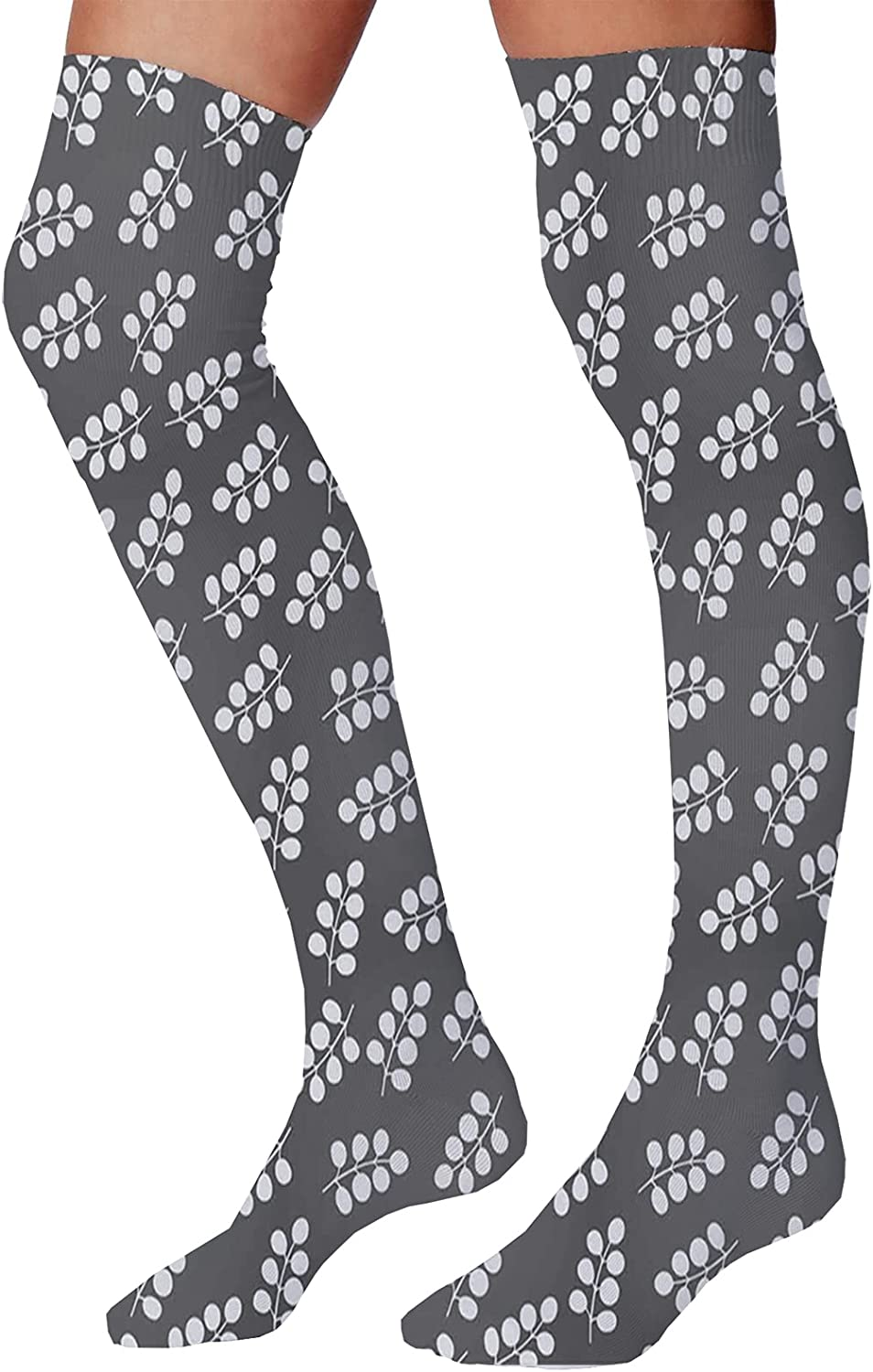 Men's and Women's Fun Socks,Abstract Leaf Like Shapes in Motley Lively Colors Entangled Funky Wavy Design