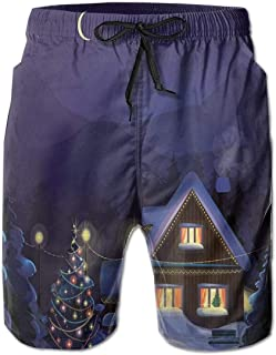 Men Swim Trunks Beach Shorts Winter Scenery with Designed House and Tree at Night Family Themed Concept Art