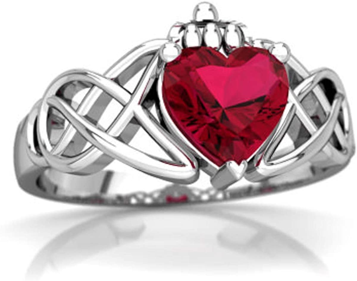 glowspectrajewels Claddagh Celtic Knot Ring Cut R Heart 2021 spring and summer new 0.55 CTW Opening large release sale