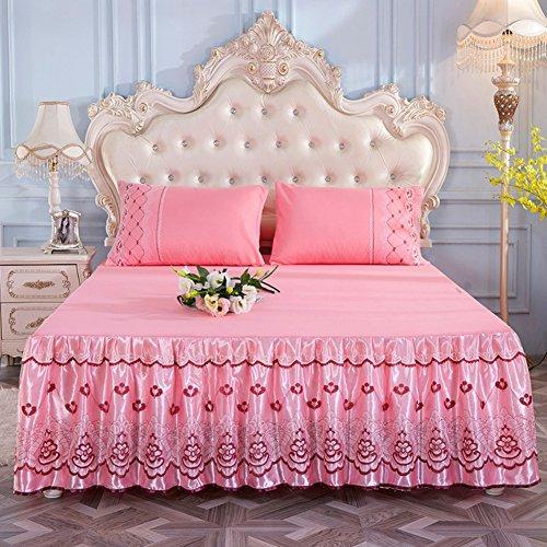 Spitze Bett Rock, Bett Volant Bestickt Tagesdecke Mit rüschen Hotel qualität Faltenresistent und ausbleichen beständig-Rosa 180x200cm/71x79inch