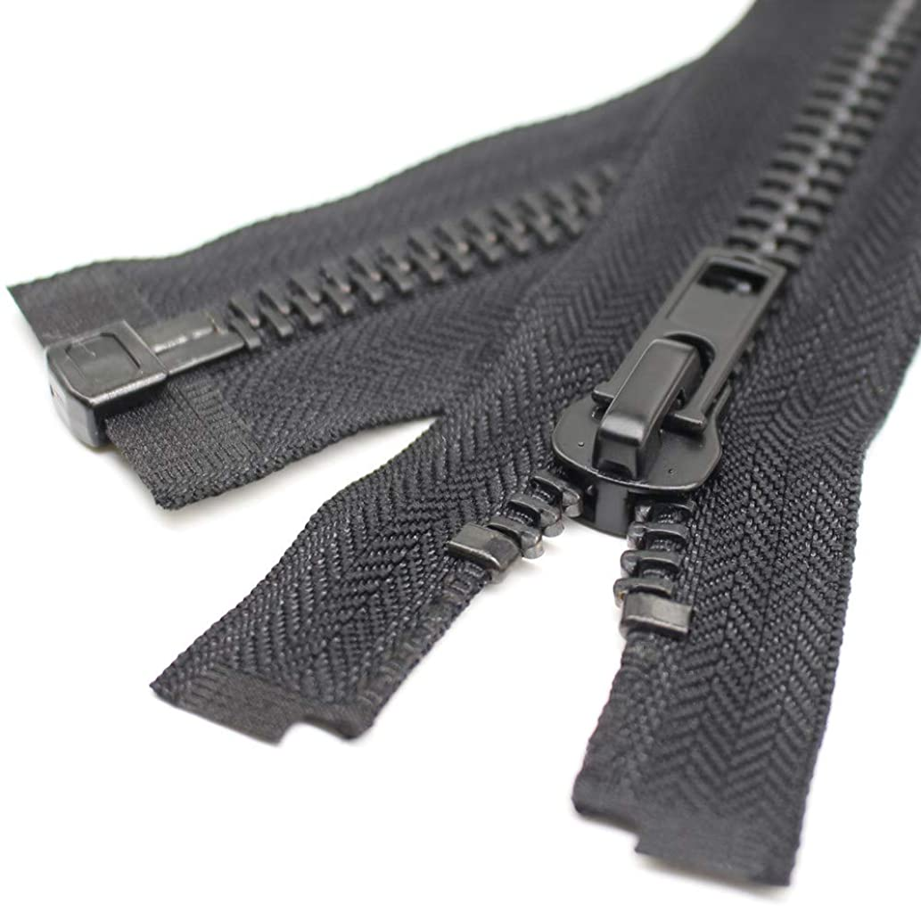 YaHoGa #10 22 Inch Black Nickel Separating Jacket Zipper Y-Teeth Metal Zipper Heavy Duty Metal Zippers for Jackets Sewing Coats Crafts (22