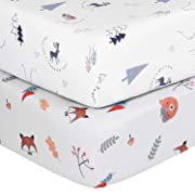 TILLYOU Microfiber Crib Sheets Set for Boys & Girls, Silky Soft Toddler Sheets Printed, Breathable Cozy Baby Sheets, 28 x 52in, 2 Pack Woodland Gray & Woodland White
