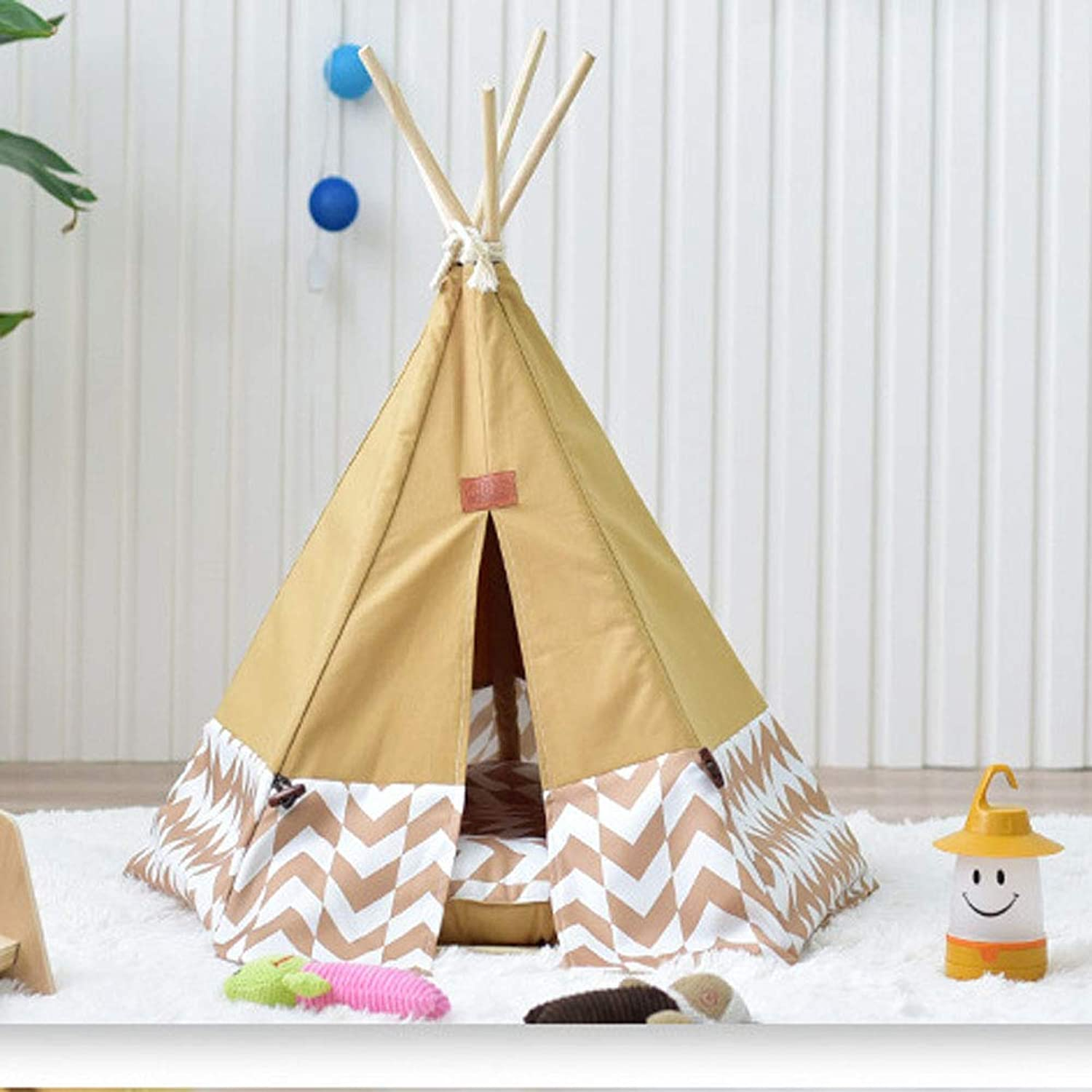 Pet Teepee House Tents Wood Canvas Tipi Fold Away Tent Furniture Cat Bed Litter Kennel Removable and Washable Small Nest Medium Large Dog Multi color Options,Brown,Small(withoutpad)