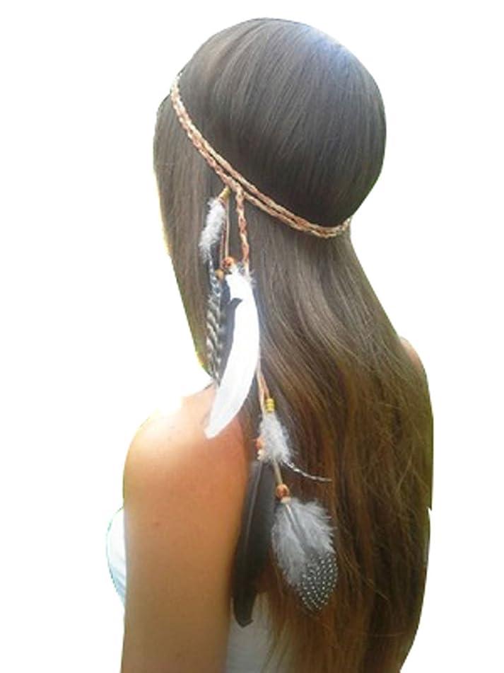Women Lady BOHO Peacock Feather Hairdressing Hair Band Head Band Folk Style Indian Handmade Headband Hair Hoop Headpiece Headwear Accessory