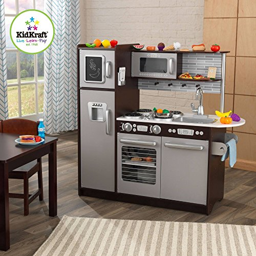 KidKraft Uptown Espresso Kitchen with 30 Piece Play Food Accessory Set