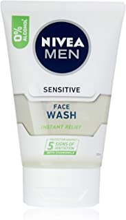 NIVEA Men Sensitive Face Wash with Chamomile & Vitamin E (100ml), Men's Sensitive face wash gel for Instant Relief from ir...