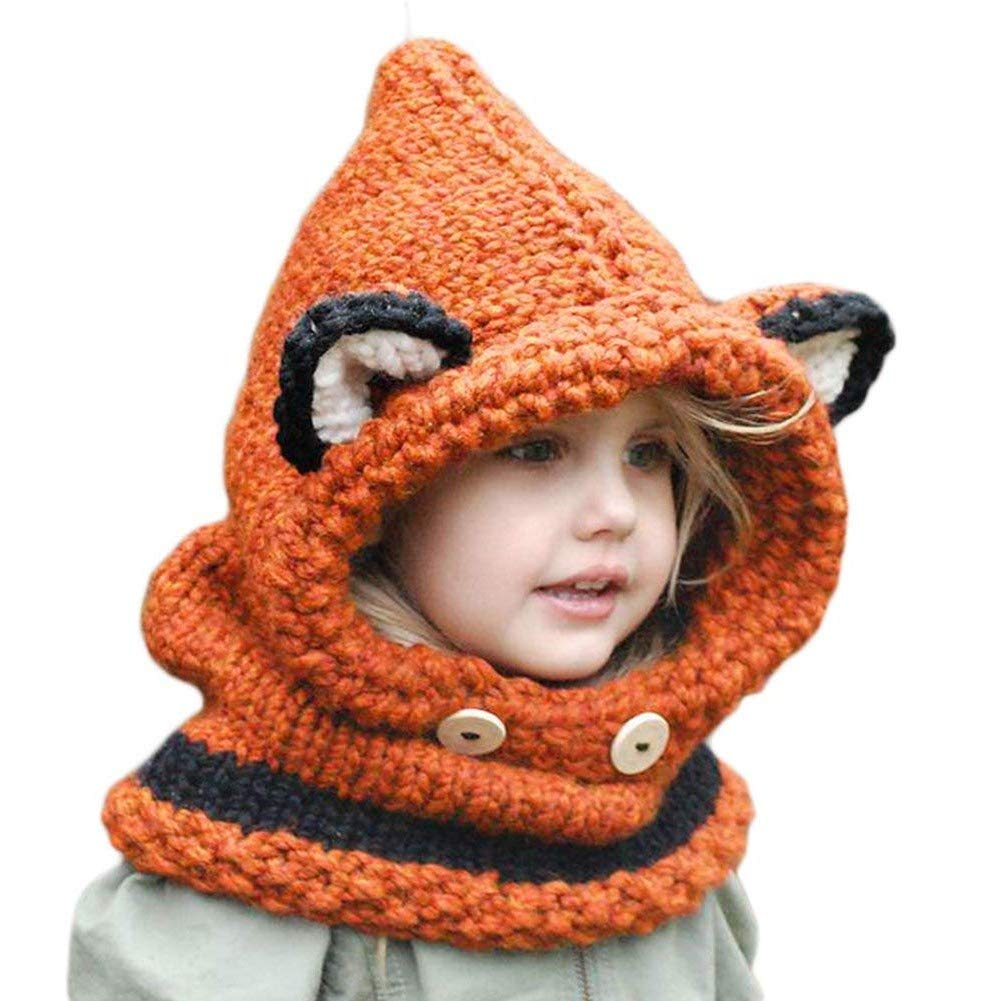 Baby Beanie Winter Warm Hat Toddler Boys Girls Cute Earflap Knitted Hood Hat Scarf Neck Cap Fit 2-8 Years