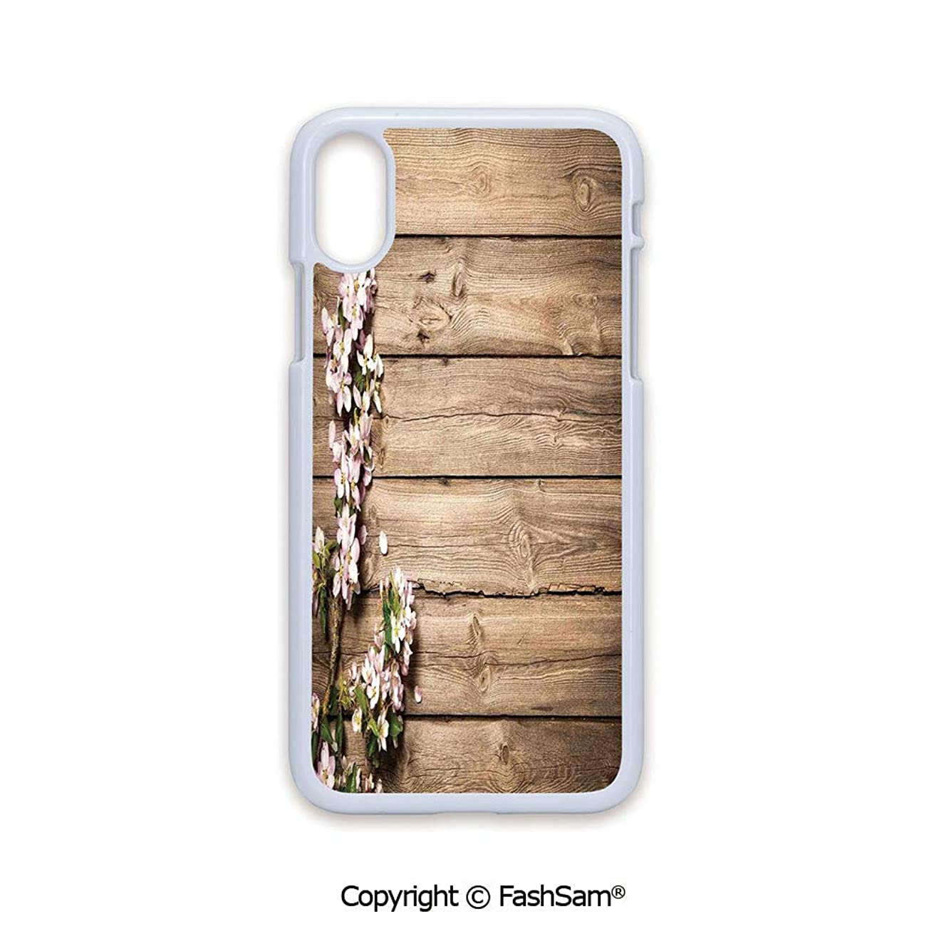 Plastic Rigid Mobile Phone case Compatible with iPhone X Black Edge Sweet Spring Flowering Branch on Weathered Wooden Blooming Orchard 2D Print Hard Plastic Phone Case