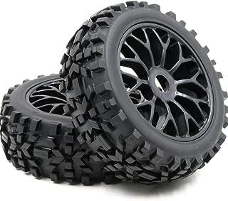 hobbysoul 2pcs 1:8 RC All Terrain Off Road Buggy Tires & Hex 12mm Wheels for Losi HPI XTR Badlands Car Upgrade