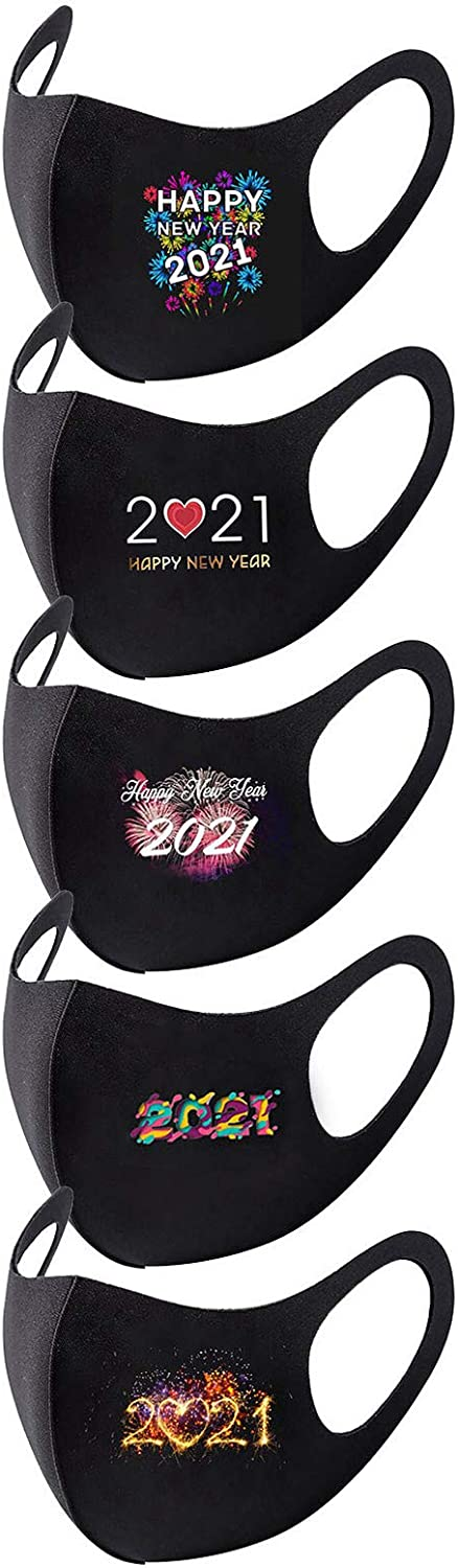BEUU Happy New Year 2021 Cloth face Mack Adults Women Men Fashionable Reusable Washable Breathable Black