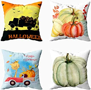 Musesh Fall Pillow Covers 20x20, Pack 4 Greeting Card Cute Cartoon Giraffe for Sofa Home Decorative Pillowcase 20x20Inch Pillow Covers Pumpkin Decorative Pillow Cover