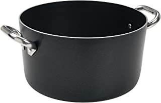 Ollas Agnelli Alblack Cazuela Alta de Aluminio, Espesor de 3 mm, con 2 Asas en Acero Inoxidable, Negro, 32 cm