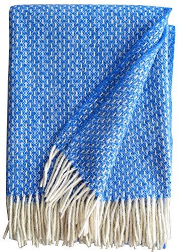 Plaids & Co Wolldecke 100% Schurwolle aus Neuseeland, Schurwollplaid mit Fransen 140x200cm (blau.Doris)
