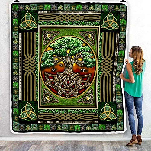 Irish Tree of Life Fleece Blanket, Bedding Set The Celtic Knot Patrick's Day Gifts from Mom, Dad, Son, Daughter, Grandma, Grandpa for Winter Bed Throw (30x40 Inches)