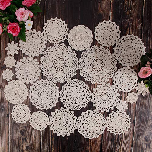 TOSEEY 24 Vintage Hand Made Crochet Doilies Dollies Lace Crochet Cup Mat Pad Coaster Wedding Tea Party decoration 2-7 inches (Beige)
