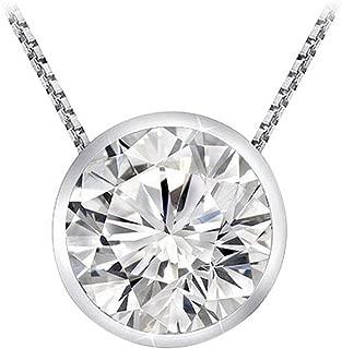 Chandni Jewelers 0.3 1/3 Carat 14K White Gold Round Diamond Solitaire Pendant Necklace Bezel J-K Color I2 Clarity