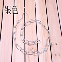 High quality ple Clothes Metal Hanging Chain With Hook Apparel Shop Coat Hangers Display Rings Clothing (Color : Silver)