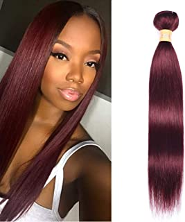 WOME 8A Grade Peruvian Straight Human Hair Bundles 1 Bundle Burgundy Wine Red Remy Hair Wefts Extensions (18 inch, 99J)