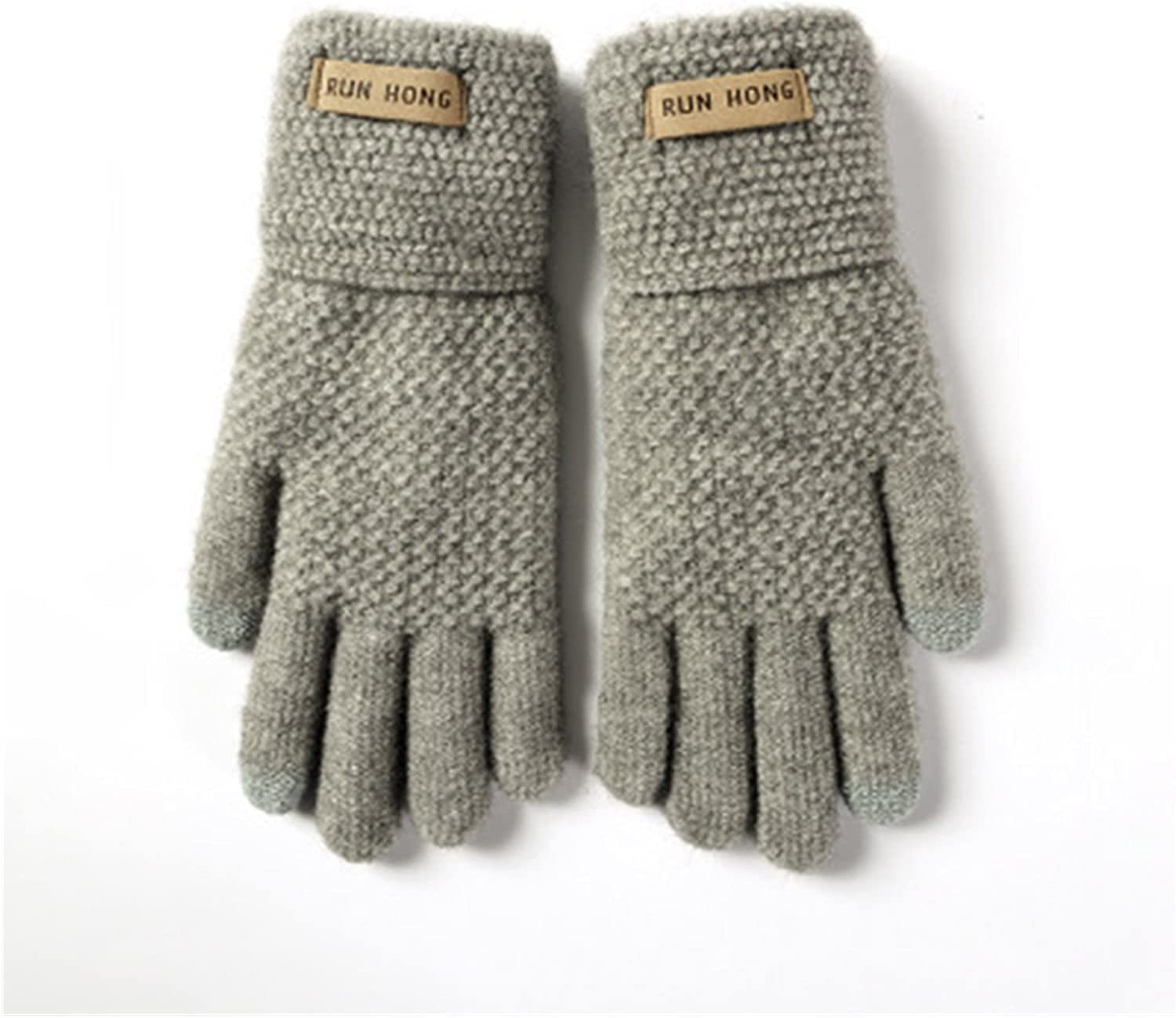 JSJJAWS Winter Gloves Unisex Winter Thicken Twist Flower Knit Touch Screen Mittens Female Cashmere Elastic Nonslip Cycling Driving Gloves (Color : B Light Gray, Gloves Size : One Size)