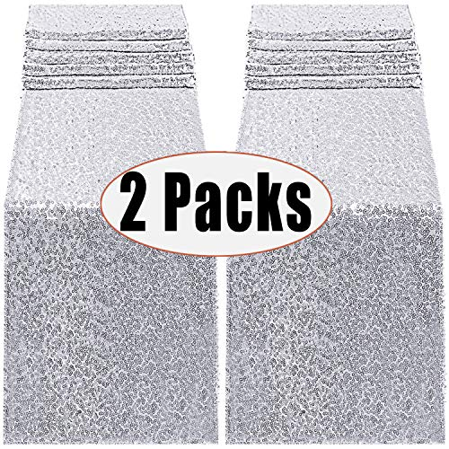 FECEDY 2 Packs 12 x 108inch Glitter Silver Sequin Table Runner for Birthday Wedding Engagement Bridal Shower Baby Shower Bachelorette Holiday Celebration Party Decorations (Silver)