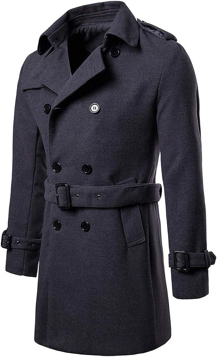 XingYue Direct Men Woolen Cloth Blends Coat Men Casual Trench Coat Slim Fit Office Jackets Coat Overcoat (Color : Dark Grey, Size : S)