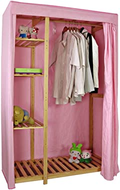 DR - Cloth Wardrobe Storage Clothes Multi-Layer Locker Combination Cabinet Oxford Cloth Folding Cabinet Foldable Wardrobe (Color : Pink)