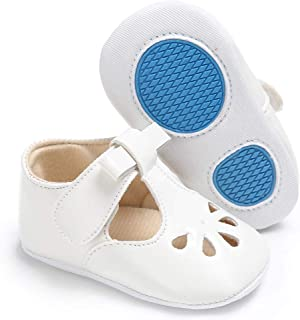 myppgg Baby Girls Mary Jane Flats with Bowknot Non-Slip Infant Sandals Toddler First Walkers Princess Dress Shoes