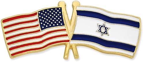 PinMart USA and Israel Crossed Friendship Flag Enamel Lapel Pin