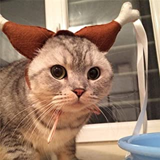 Glumes Cat Dog Hat Funny Cute Turkey Chicken Drumstick Headband Hat Dogs Puppy Cats Party Clothes, Christmas Halloween Cosplays Accessories Holiday Costume Supplies